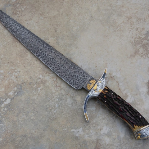 Handmade knife with Eggerling Mosaic Damascus Steel